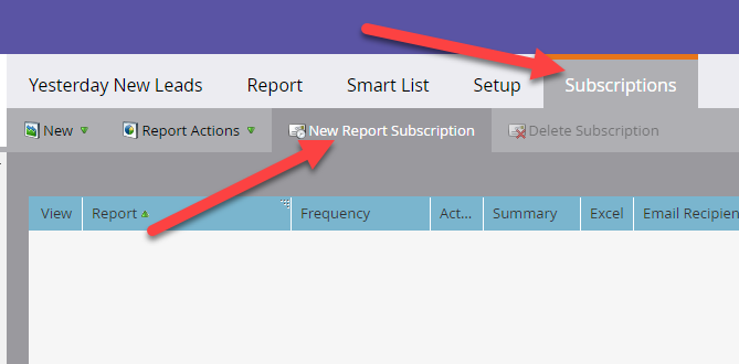 """Go to """"Subscriptions"""" tab and click """"New Report Subscription"""""""