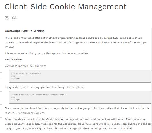 Client side cookie management - JS type rewrite