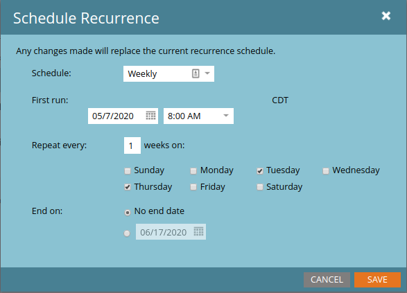 Setting the recurring schedule for a batch campaign via the Marketo GUI