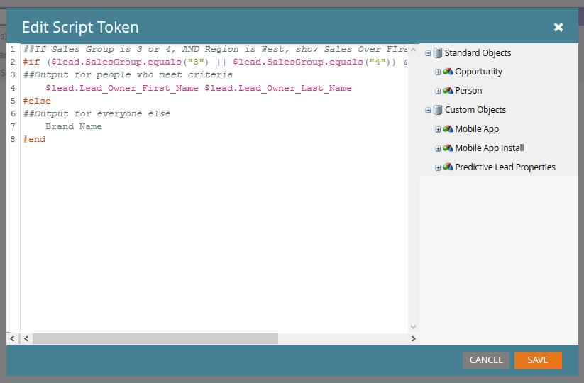 Marketo Velocity Script Editor