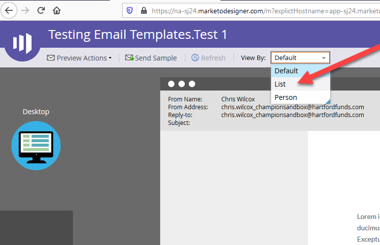 Preview your email using your test list.
