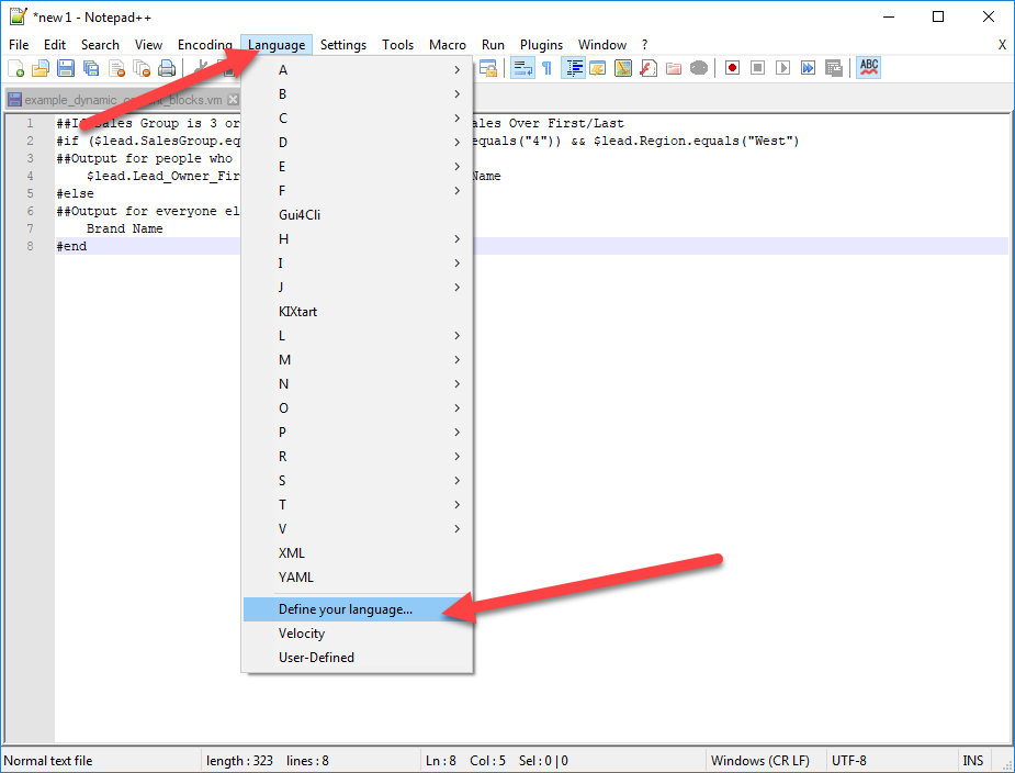 After downloading Syntax Highlighter, open Notepad++ and click Define Your Language
