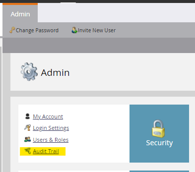 Admin > Audit Trail to track user changes