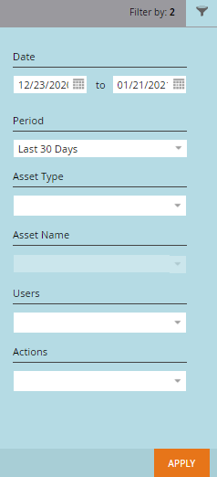 Audit trail filters: Date, Asset Type, Users, Actions
