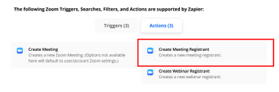 Add a Zoom Meeting Registrant using an Action in Zapier
