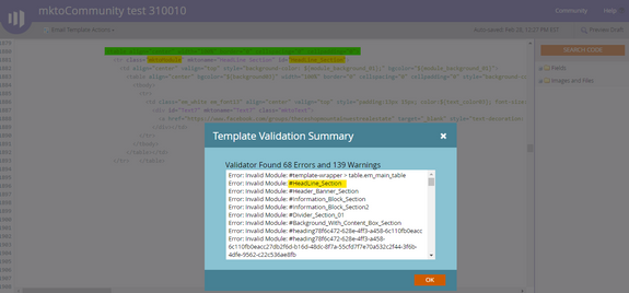Email Template Options > Validate HTML