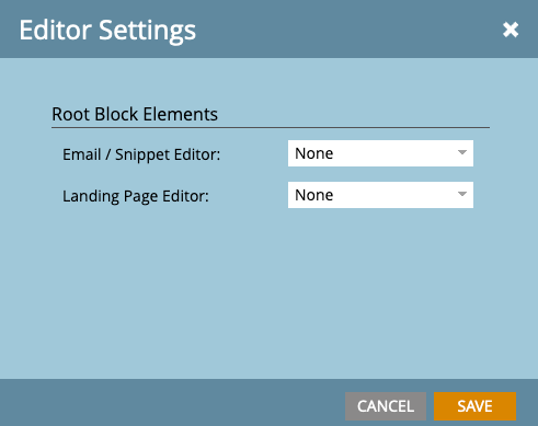 Screenshot of Root Block Elements settings