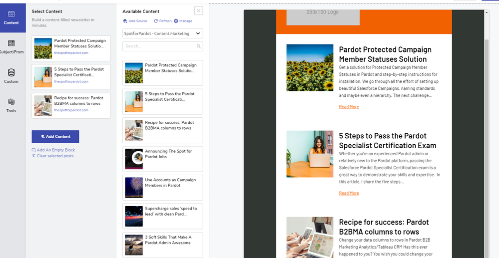 example dragging content to a newsletter